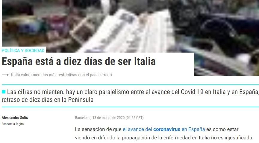 articolo giornale spagna covid19 italia