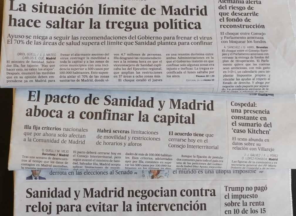 giornali madrid settembre 2020