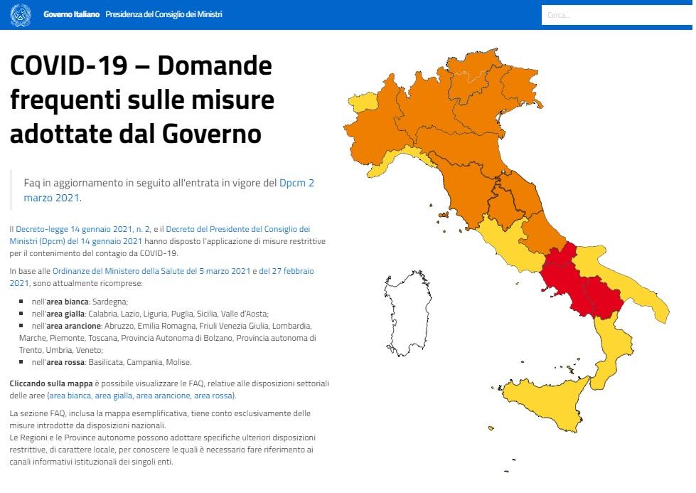 zone italia covid 8 marzo 2021