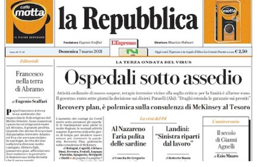 repubblica prima pagina